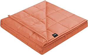 ZonLi Weighted Blanket 12 lbs(48''x72'', Twin Size, Lightsalmon), Cooling Weighted Blanket for Adults, 100% Cotton Material with Glass Beads