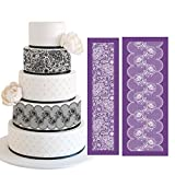ART Kitchenware 19.3''×7.5'' Large Alencon Lace Mesh Stencil Kit Lace Floral Cake Stencil Set Wedding Rose Petal Cake Side Stencils Template Mold Cake Decorating Bakery Tool MST-01&MST-42 Purple Color