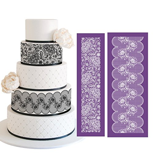 ART Kitchenware 19.3''×7.5'' Large Alencon Lace Mesh Stencil Kit Lace Floral Cake Stencil Set Wedding Rose Petal Cake Side Stencils Template Mold Cake Decorating Bakery Tool MST-01&MST-42 Purple Color by AK ART KITCHENWARE