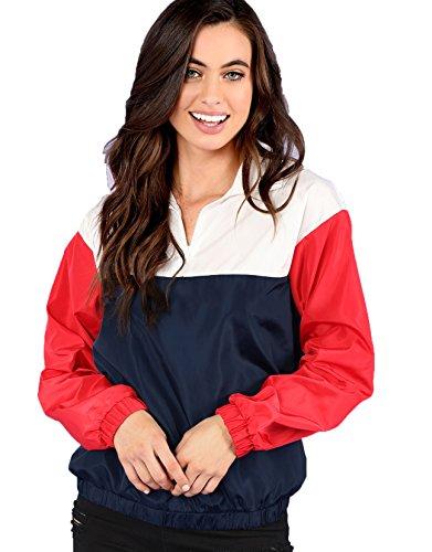 (Floerns Women's Color Block Jacket Casual Thin Collar Pullover Windbreaker Multicolor S)