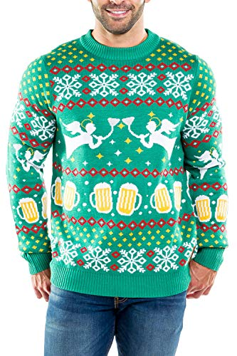 Tipsy Elves Men's Beer Bong Angel Christmas Sweater - Funny Ugly Christmas Sweater: X-Large -