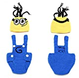 Newborn Baby Girl Boy Crochet Knit Minions Hat Diaper Set Costume Photography Prop Outfit