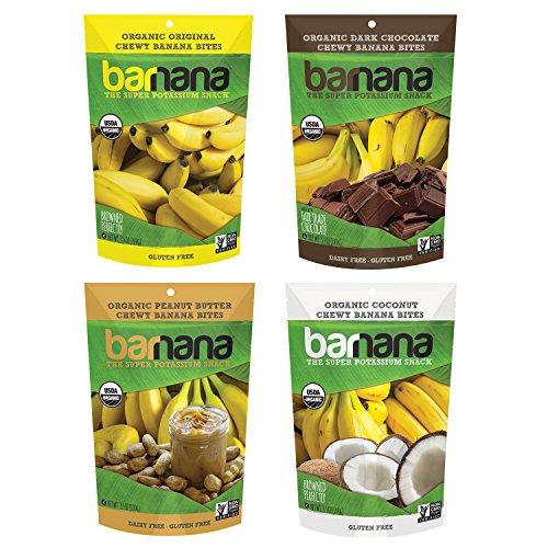 Barnana Organic Chewy Banana Bites Variety Pack, 4 Count Ripe Bananas