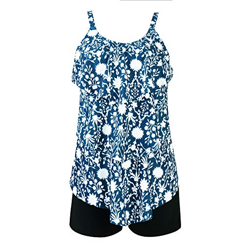 RUUHEE Women Floral Printed Flounce Crop Top with Boyshorts Bottom 2 Piece Tankini Set Swimsuits (L(US Size 12-14),Floral Printed)