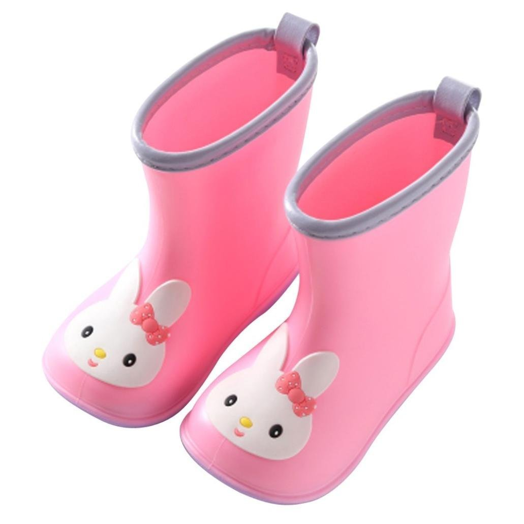 Kids Rain Shoes,Infant Cartoon Animal Pattern Rubber Waterproof Durable Warm Boots Children (Pink, 17)