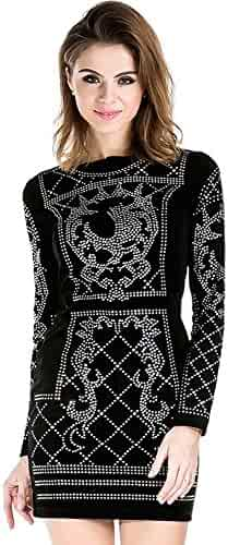 27b7cd70a9d6 Miss ord Women's Long Sleeve Halter Studded Casual Mini Dress with Zipper  Black