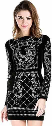 38510f0f922d Miss ord Women's Long Sleeve Halter Studded Casual Mini Dress with Zipper  Black