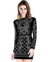 Women's Long Sleeve Halter Studded Casual Mini Dress with Zipper Black