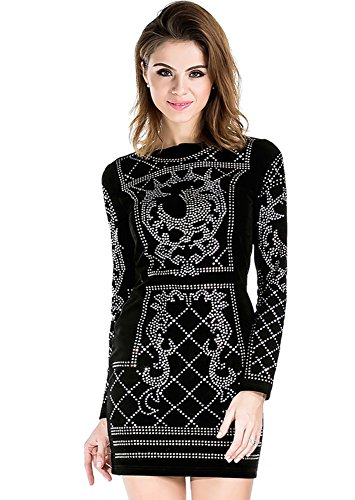 Miss ord Women's Long Sleeve Halter Studded Casual Mini Dress with Zipper Black Large - Lace Studded Shorts
