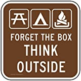 ComplianceSigns Aluminum Recreation Sign, Reflective 12 x 12 in. with Parks / Camping info in English, Brown