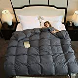 ROYALAY Luxurious All Seasons Gray Goose Down Comforter-Solid Hypo-allergenic Duvet Insert 1200 Thread Count 800FP 100% Cotton Shell Down Proof With Tabs (Gray, King)
