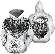 Feinny Men Odin Raven Hoodie, 3D Print Quick Dry Long Sleeve Pullover, Valknut Viking Amulet Sweatshirt with P