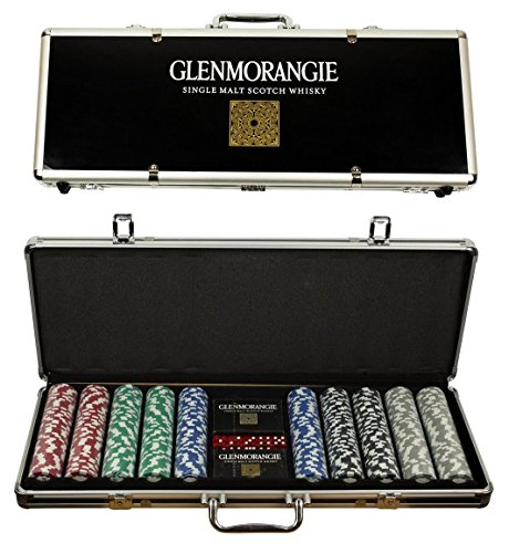 - Glenmorangie Scotch Whisky Poker Set, 500 Clay Poker Chips, Playing Card, 5 Dice with Case