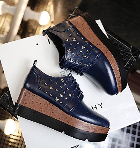 Baskets Bleu Plateforme Semelle 4cm Femme Rivet Epaise De Mode Aisun BO8qP6wZn