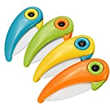 Ceramic Fruit Knife - Cute Bird Portable Pocket Folding Ceramic Fruit Vegetable Paring Knife,Set of 4