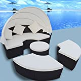 Anself 2-in-1 Poly Rattan Sofa Sunbed Round Outdoor Sofa Set with Retractable Canopy 73'' x 57''
