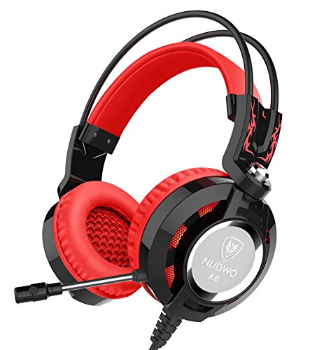 Cheap Nubwo K6 Headset, Stereo Over Ear Gaming Headphones with Microphone LED Lighting for Pc (Black/red)