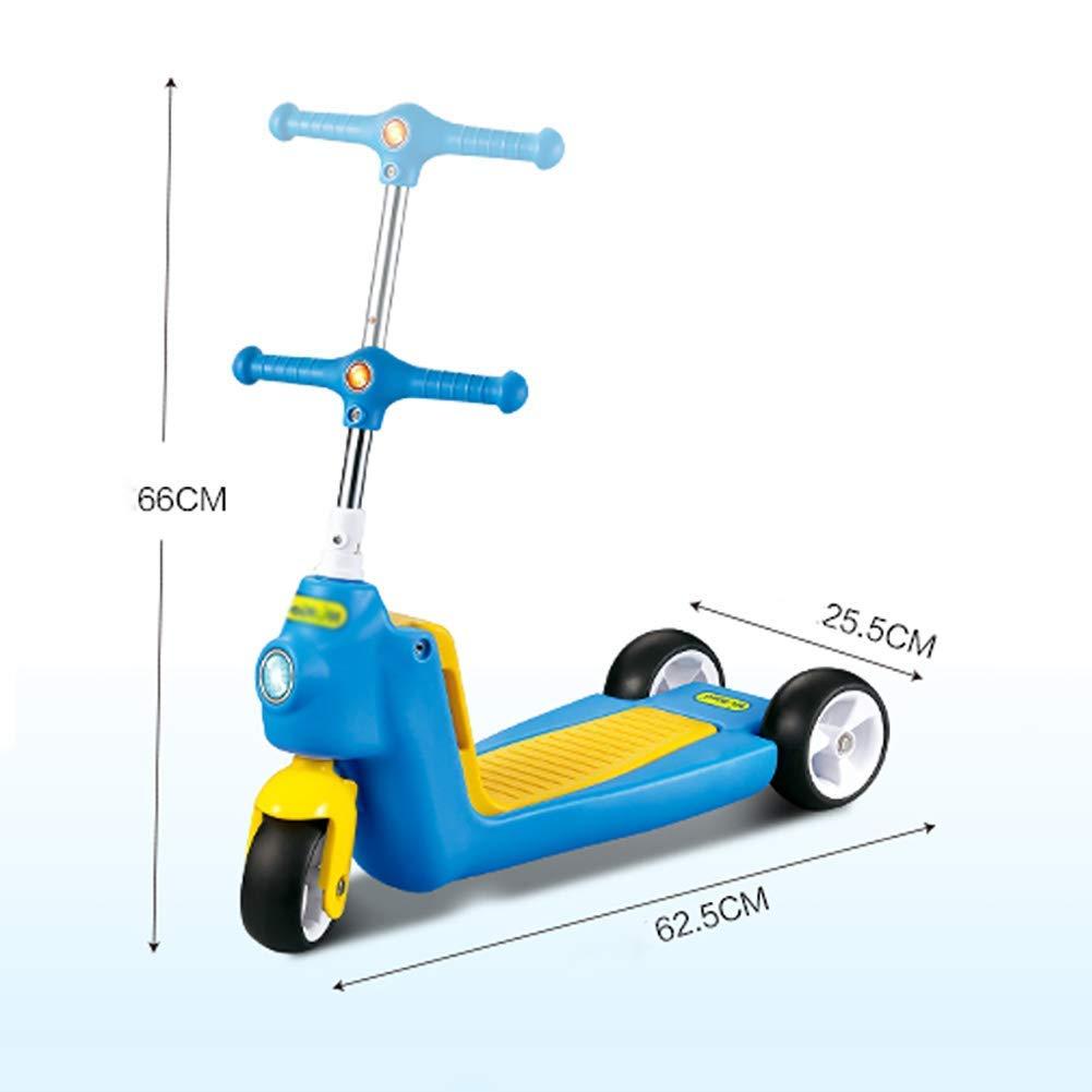 Blau ZLL Faltbarer Kinderroller-Tritt 2-in-1-Kinder für 2-6-Jährige, stoßdämpfender, verstellbarer Lenker, sicherer Tritt mit Sitz, breites Pedal, Gewicht 40 kg,Blau