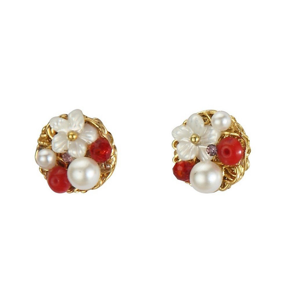 Stud Earring Vintage Flower Cluster Made With Shell /& Pearl by JOE COOL