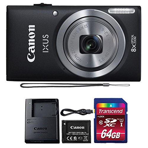Canon IXUS 185 / ELPH 180 20MP Black Compact Digital Camera with 64GB SDHC Memory Card ()