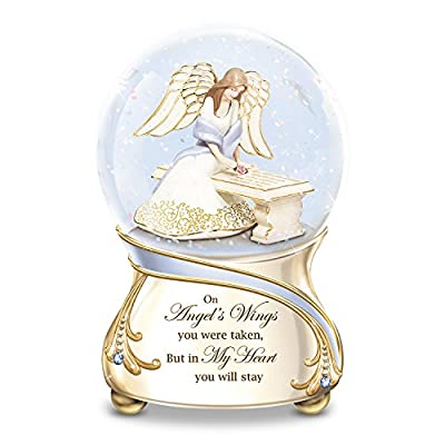 Remembrance Porcelain Musical Glitter Globe with Angel and Swarovski Crystals by The Bradford Exchange