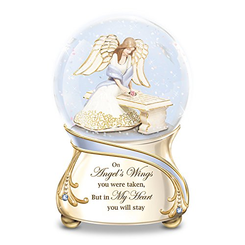 Remembrance Porcelain Musical Glitter Globe with Angel and Swarovski Crystals by The Bradford (Swarovski Globe)