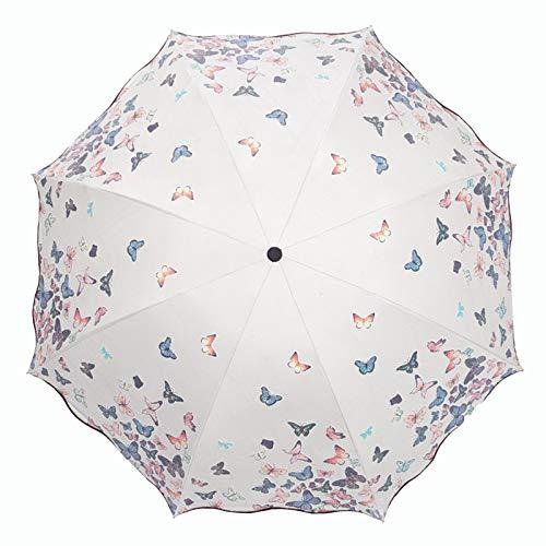 Lirener Paraguas de Cambio de Color(Mariposa), Paraguas Plegable ...