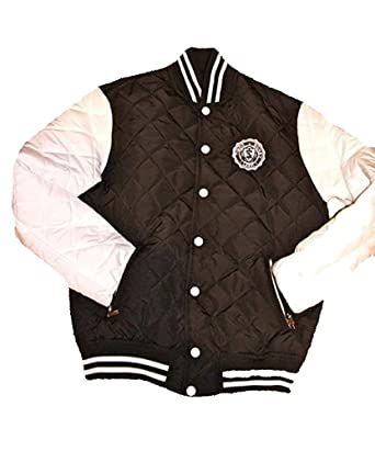 Dirty Money Faux Leather Black Bandanna Sleeves College Track Jacket