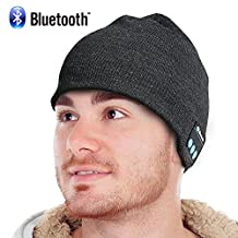 Bluetooth Beanie, Rechargeable Unisex Wireless Hat with Control Panel, Removable Stereo Headphones, Charges via USB(Gray)