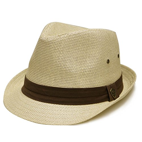 City Hunter Pms500 Solid Paper Toyo Trilby Straw Fedora Hats Natural (Straw Trilby Hat)