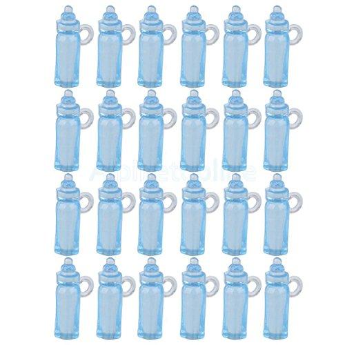 24X BABY SHOWER MINI BOTTLES BLUE BOY CHRISTENING DECORAT...