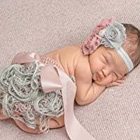 Newborn Girl Outfit Shower Gift Set with Headband and Ruffle Bloomers