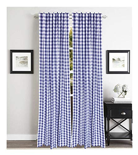(Farm House Curtain in Buffalo check Plaid cotton fabric 50x84 -Navy White, Cotton Curtains,2 Panels Curtain, Tab Top curtains,Curtains Set of 2, Gingham Check Curtain, Gingham check curtain panel)