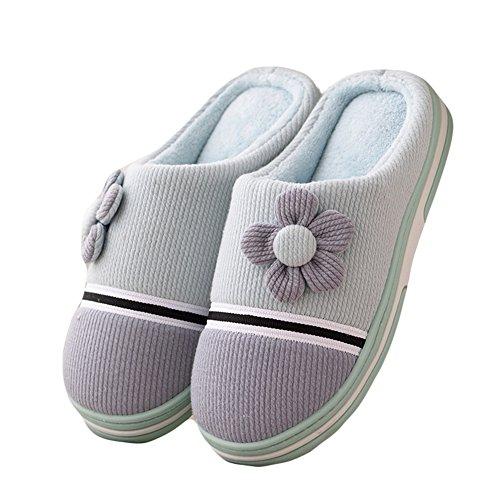Btrada Winter Comfortabele Womens Heren Katoenen Slippers Antislip Slingback Huis Indoor Paar Slippers Schoenen Blauw