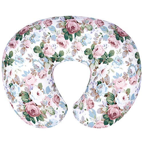 Nursing Pillow Replacement Cover - TILLYOU Large Zipper Personalized Nursing Pillow Cover, 100% Egyptian Cotton Soft Hypoallergenic Feeding Pillow Slipcovers for Baby Girls Boys, Fits Standard Infant Support Pillows, Rose