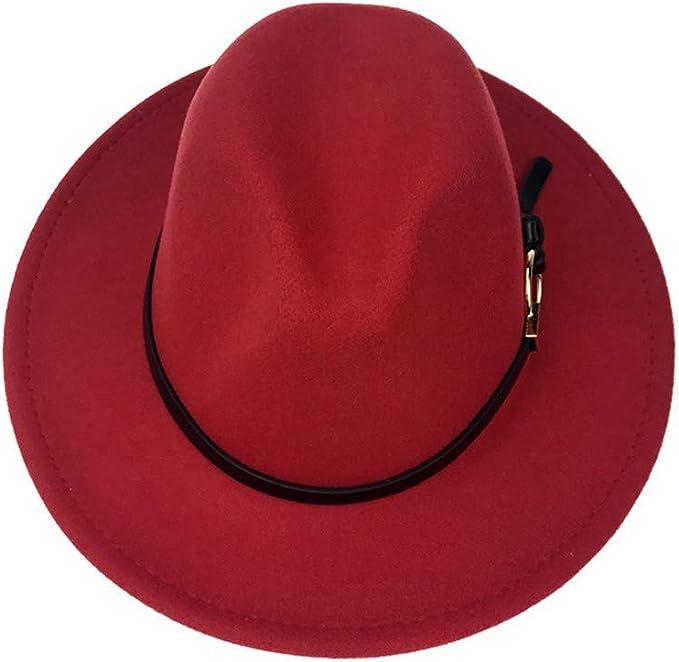 DOSOMI Fashion Men Felt Fedora Hat with Wide Brim Wool Jazz Hat Gentleman Sombrero Steampunk Belt