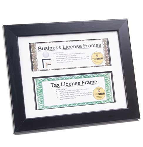 CreativePF [CL9x11bk] Black Double License Business Frames for Professionals 8.5 by 11-inch Frame w/ Mat, Self Standing Easel Back and Hanger (License Display Frame compare prices)