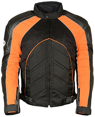 NexGen Men's Combo Leather/Nylon/Mesh Sport Bike Jacket (Black/Orange, 5X-Large)