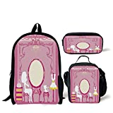 School Lunch Pen Bags,Girls,Lady Sitting in front of French Cosmetic Make Up Mirror Furniture Dressy Design,Pink Yellow,Personalized Print