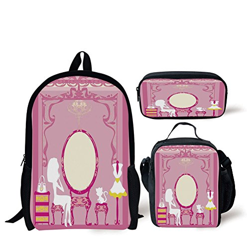 School Lunch Pen Bags,Girls,Lady Sitting in front of French Cosmetic Make Up Mirror Furniture Dressy Design,Pink Yellow,Personalized Print by iPrint