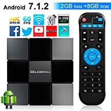 Android TV Box, Globmall 2018 Model X3 Android Box, Android 7.1 TV Box with 2GB RAM 8GB ROM Quad Core A53 Processor 64 Bits Support 4K 60fps