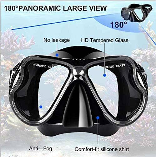Charlemain Dry Snorkel Set, HD Panoramic View, Anti-Fog and Anti-Leakage, Adjustable, Safe material, Scuba Diving Mask for Professional Snorkeling Adults
