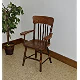 rustic hickory oak panel back dining arm chairwalnut stain amish made usa - Dining Room Chair With Arms