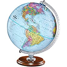 "Replogle Standard - Educational Desktop World Globe for Kids and Teachers, Antique Walnut Wood Stand, Over 4,000 Place Names, Designed for Classroom Learning (12""/30 cm Diameter)"