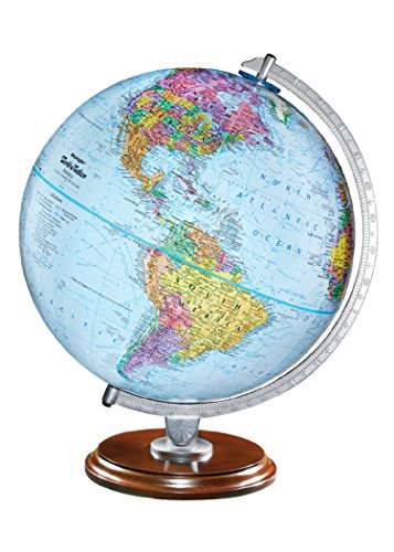Replogle Standard - Educational Desktop World Globe for Kids and Teachers, Antique Walnut Wood Stand, Over 4,000 Place Names, Designed for Classroom Learning (12
