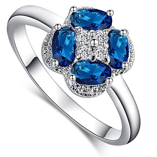 Veunora White Gold Plated Exquisite Flower Shape Oval Cut Sapphire Quartz Ring for Women (Ring Diamond Oval Sun)