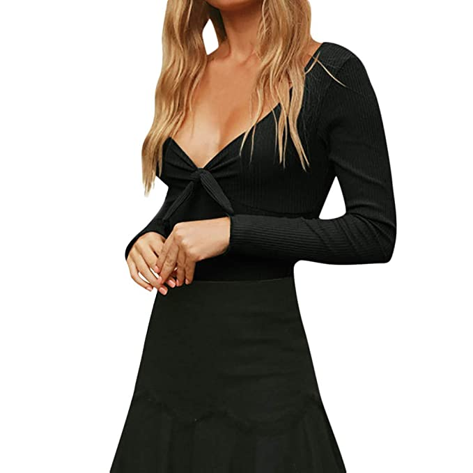 7876583b64 Image Unavailable. Image not available for. Color  DOINSHOP One Piece  Jumpsuits for Women Sexy Bow Long Sleeve Rompers Bodysuit Playsuit Overalls