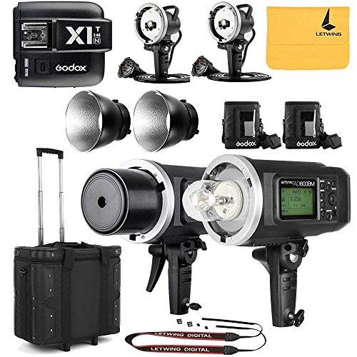 GODOX AD600BM Sync 1 / 8000s 2.4G 2Pcs Wireless Flash Speedlite,GODOX X1T-N,2X AD-H600B Head,2X PB-600 Bag,1X Carry Bag,2X 32'' 5-in-1 Reflector,1X LETWING Camera Neck Strap by Godox