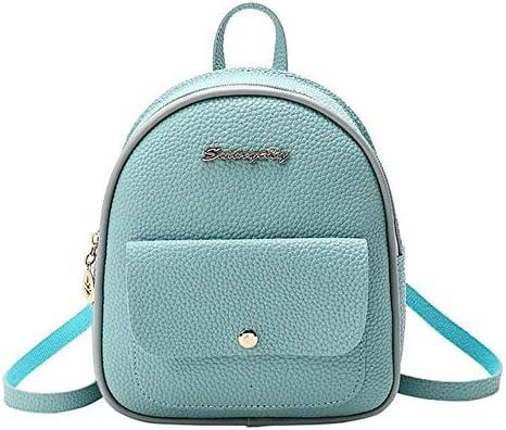 ZWQ Rucksack Damen Leder Umhängetasche Für Kleine Bagpack Damen Rucksack, Blau