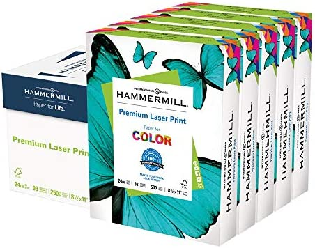 Hammermill Printer Paper, Premium Laser Print 24 lb, 8.5 x 11-5 Ream (2,500 Sheets) - 98 Bright, Made in america